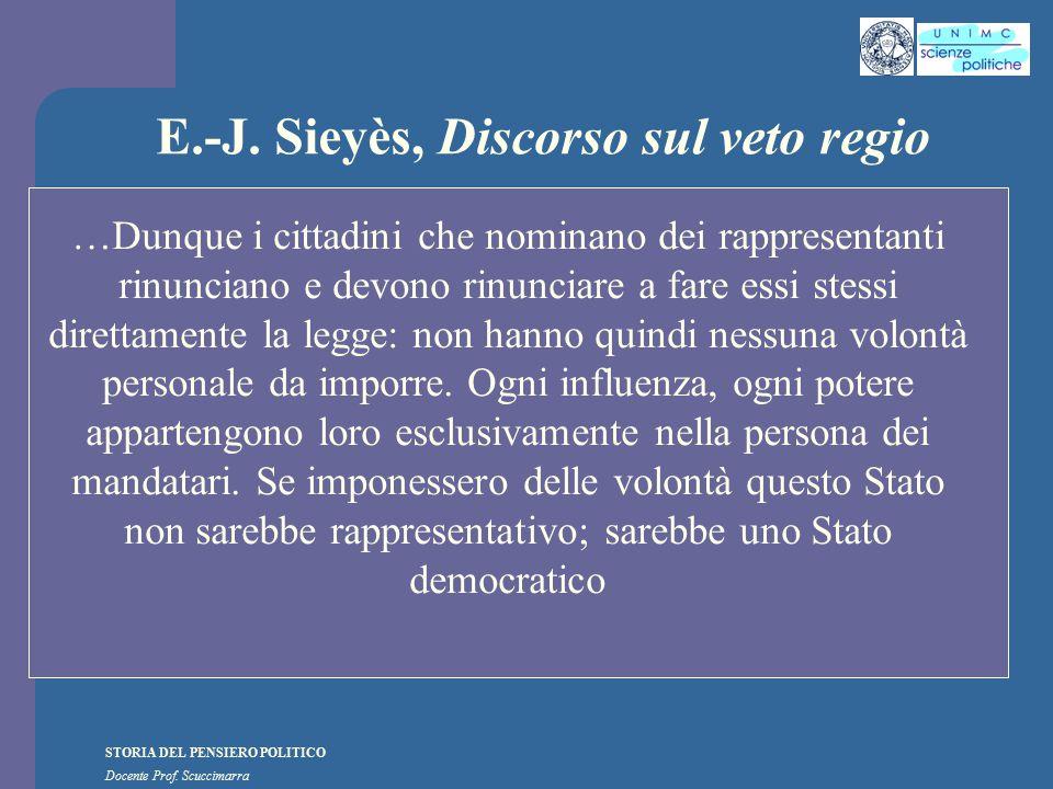 STORIA DEL PENSIERO POLITICO Docente Prof. Scuccimarra E.-J. Sieyès, Discorso sul veto regio …Dunque i cittadini che nominano dei rappresentanti rinun