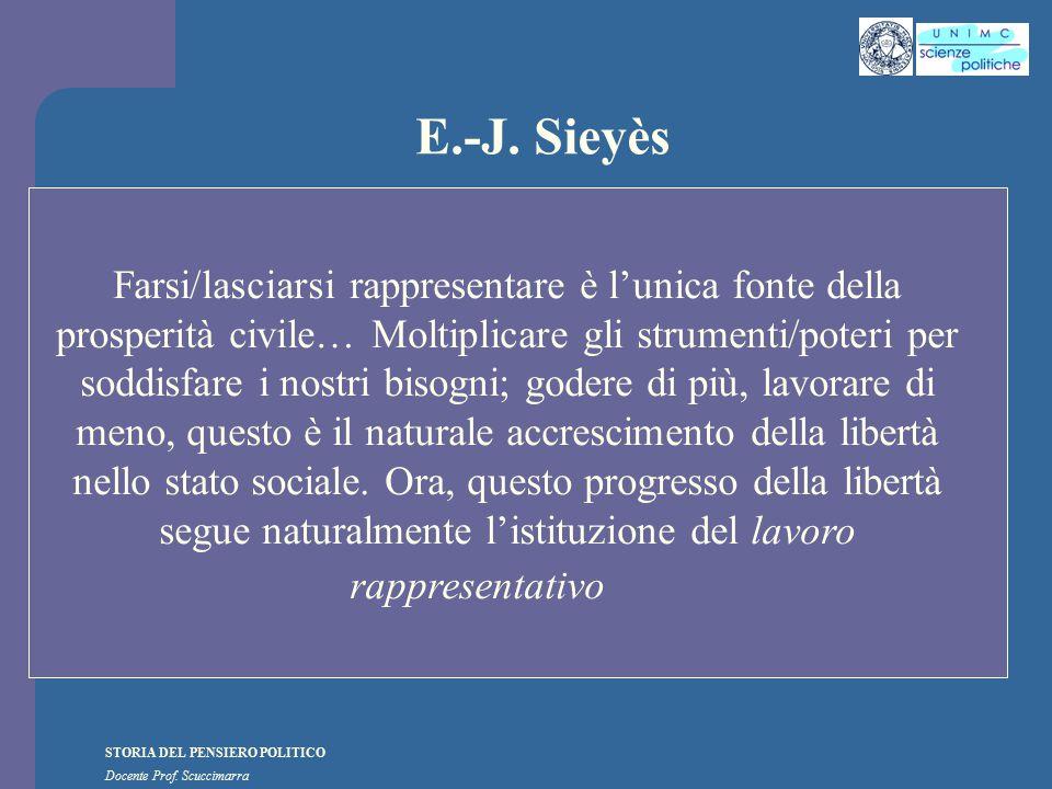 STORIA DEL PENSIERO POLITICO Docente Prof. Scuccimarra E.-J. Sieyès Farsi/lasciarsi rappresentare è l'unica fonte della prosperità civile… Moltiplicar