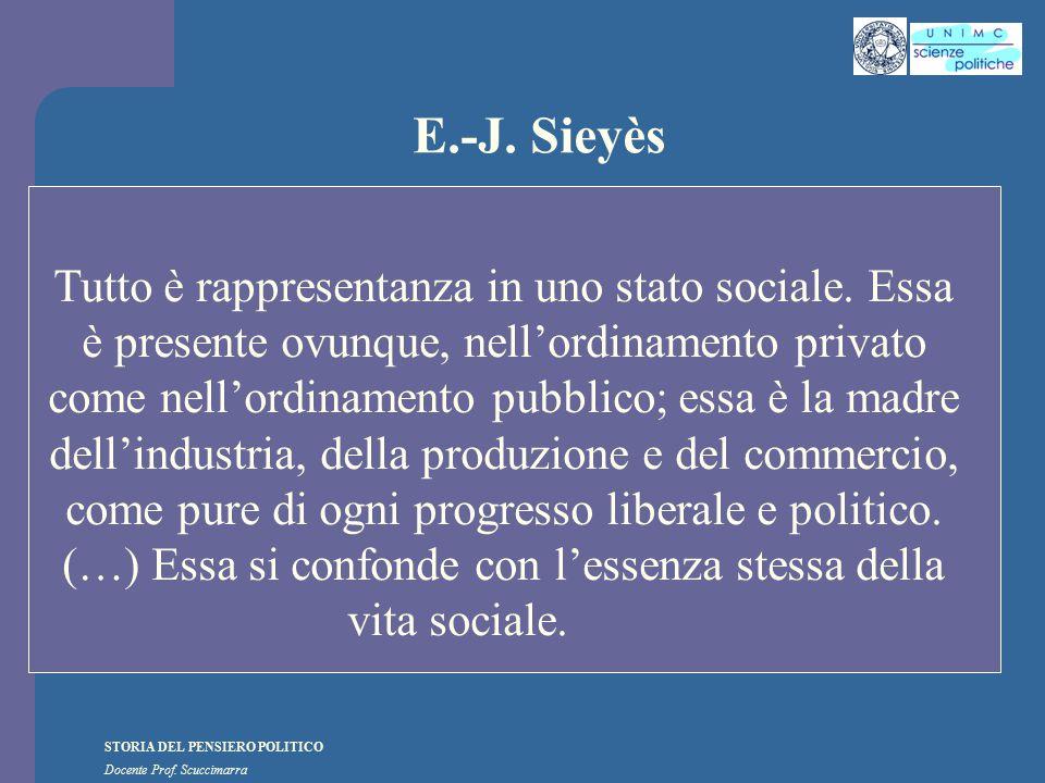 STORIA DEL PENSIERO POLITICO Docente Prof. Scuccimarra E.-J. Sieyès Tutto è rappresentanza in uno stato sociale. Essa è presente ovunque, nell'ordinam