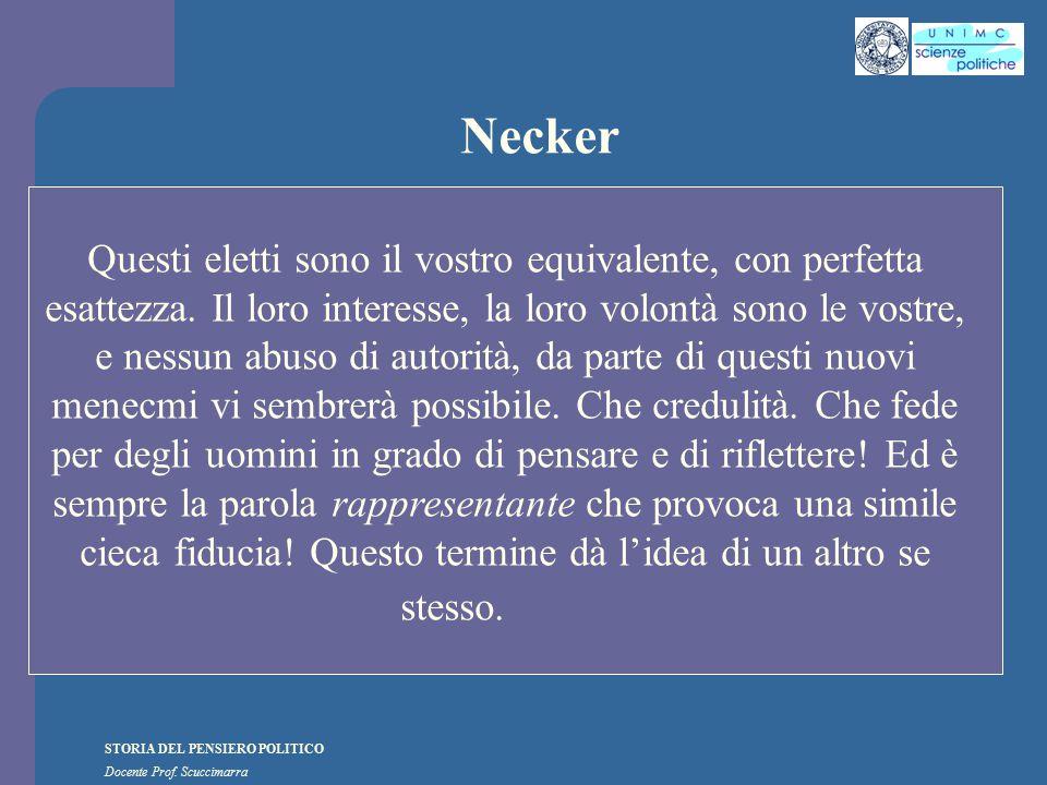 STORIA DEL PENSIERO POLITICO Docente Prof. Scuccimarra Necker Questi eletti sono il vostro equivalente, con perfetta esattezza. Il loro interesse, la