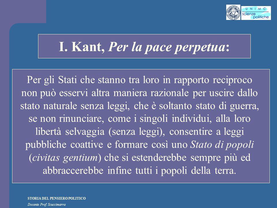 STORIA DEL PENSIERO POLITICO Docente Prof. Scuccimarra STORIA COSTITUZIONALE I. Kant, Per la pace perpetua: Per gli Stati che stanno tra loro in rappo