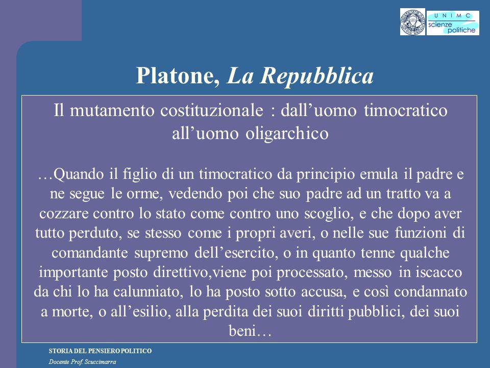 STORIA DEL PENSIERO POLITICO Docente Prof. Scuccimarra Platone, La Repubblica Il mutamento costituzionale : dall'uomo timocratico all'uomo oligarchico