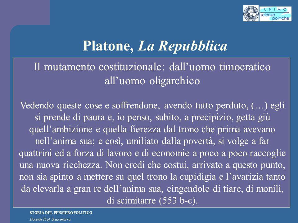 STORIA DEL PENSIERO POLITICO Docente Prof. Scuccimarra Platone, La Repubblica Il mutamento costituzionale: dall'uomo timocratico all'uomo oligarchico