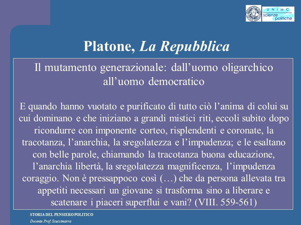 STORIA DEL PENSIERO POLITICO Docente Prof. Scuccimarra Platone, La Repubblica Il mutamento generazionale: dall'uomo oligarchico all'uomo democratico E