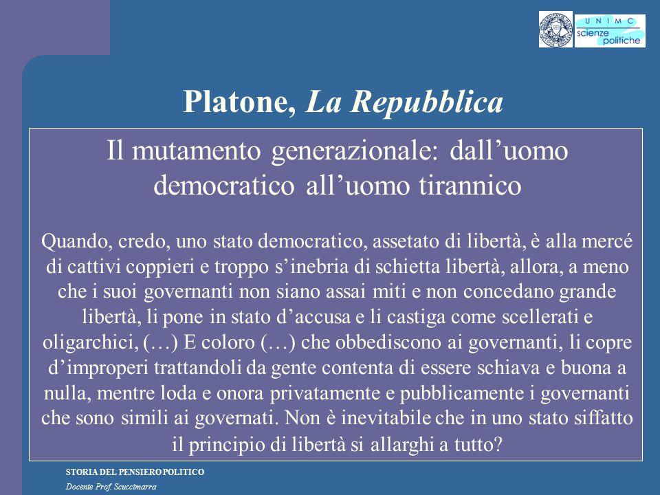 STORIA DEL PENSIERO POLITICO Docente Prof. Scuccimarra Platone, La Repubblica Il mutamento generazionale: dall'uomo democratico all'uomo tirannico Qua