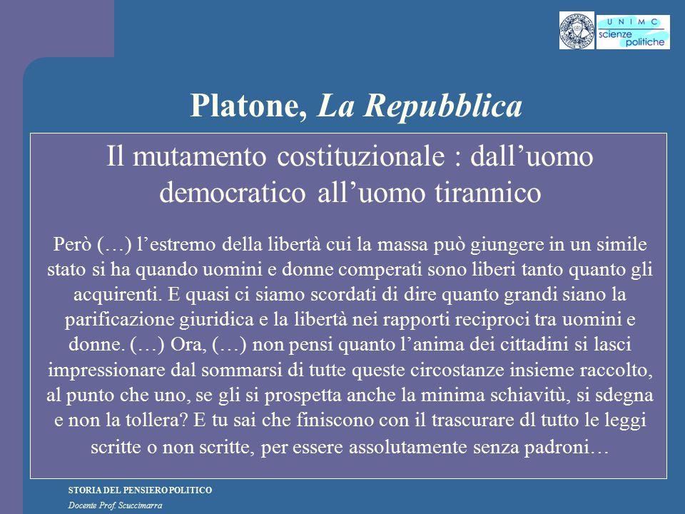 STORIA DEL PENSIERO POLITICO Docente Prof. Scuccimarra Platone, La Repubblica Il mutamento costituzionale : dall'uomo democratico all'uomo tirannico P