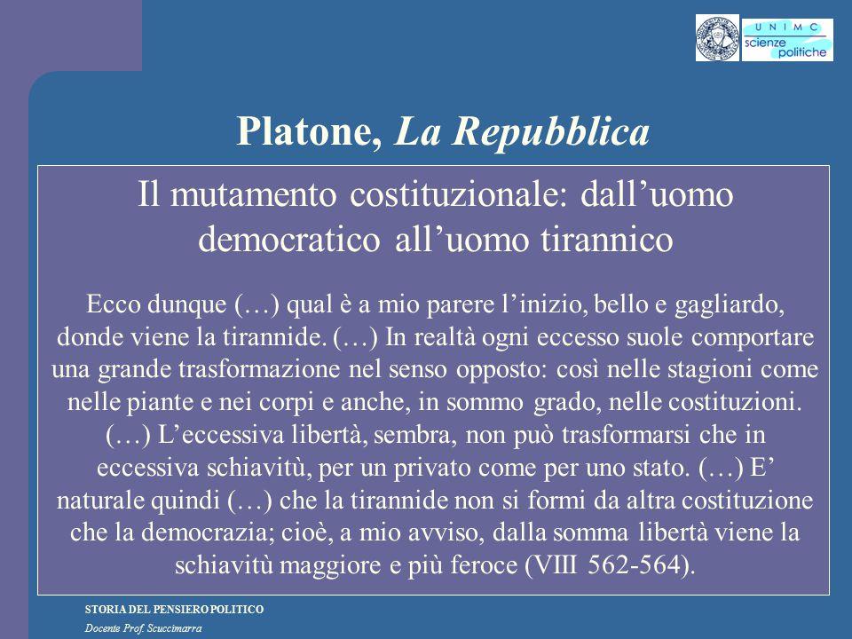 STORIA DEL PENSIERO POLITICO Docente Prof. Scuccimarra Platone, La Repubblica Il mutamento costituzionale: dall'uomo democratico all'uomo tirannico Ec