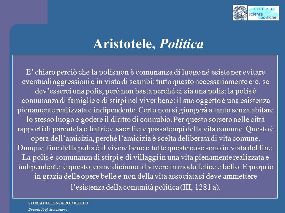 STORIA DEL PENSIERO POLITICO Docente Prof. Scuccimarra Aristotele, Politica E' chiaro perciò che la polis non è comunanza di luogo né esiste per evita