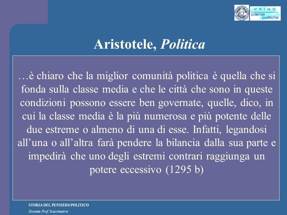 STORIA DEL PENSIERO POLITICO Docente Prof. Scuccimarra Aristotele, Politica …è chiaro che la miglior comunità politica è quella che si fonda sulla cla