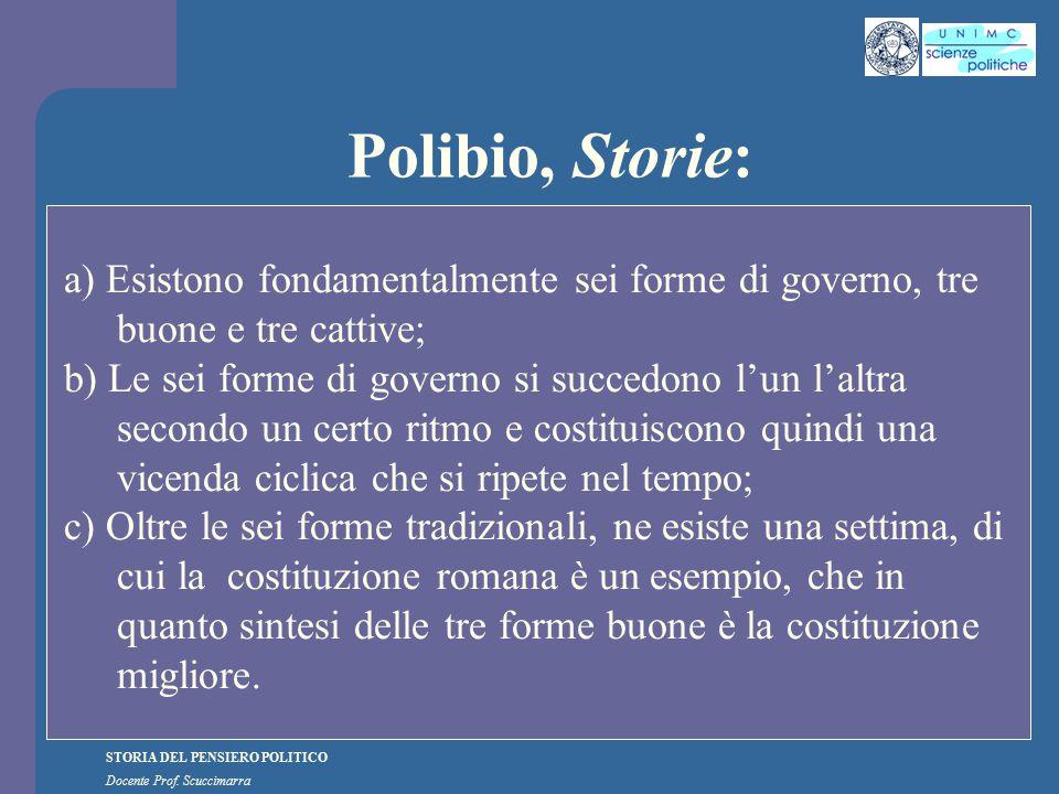 STORIA DEL PENSIERO POLITICO Docente Prof. Scuccimarra Polibio, Storie: a) Esistono fondamentalmente sei forme di governo, tre buone e tre cattive; b)