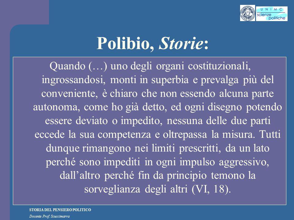 STORIA DEL PENSIERO POLITICO Docente Prof. Scuccimarra Polibio, Storie: Quando (…) uno degli organi costituzionali, ingrossandosi, monti in superbia e