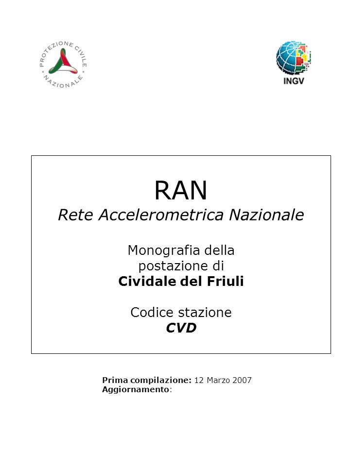 RAN Rete Accelerometrica Nazionale Monografia della postazione di Cividale del Friuli Codice stazione CVD Prima compilazione: 12 Marzo 2007 Aggiornamento: Logo RAN