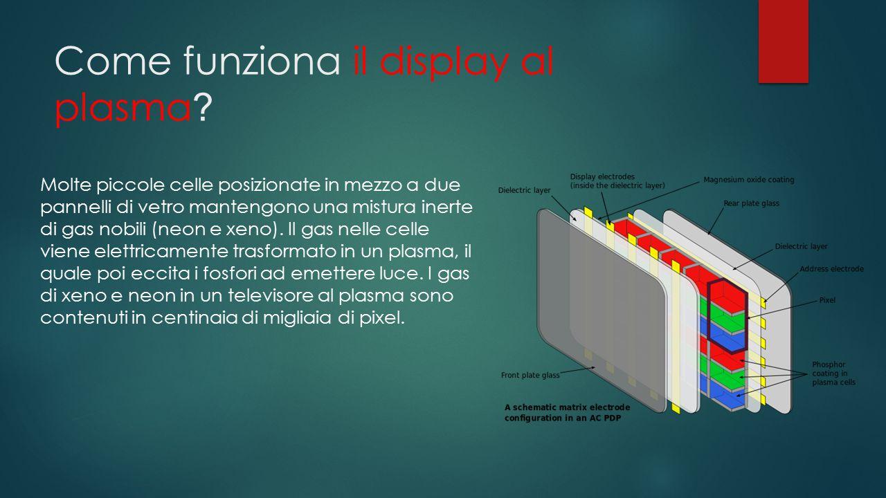 Come funziona il display al plasma ? Molte piccole celle posizionate in mezzo a due pannelli di vetro mantengono una mistura inerte di gas nobili (neo