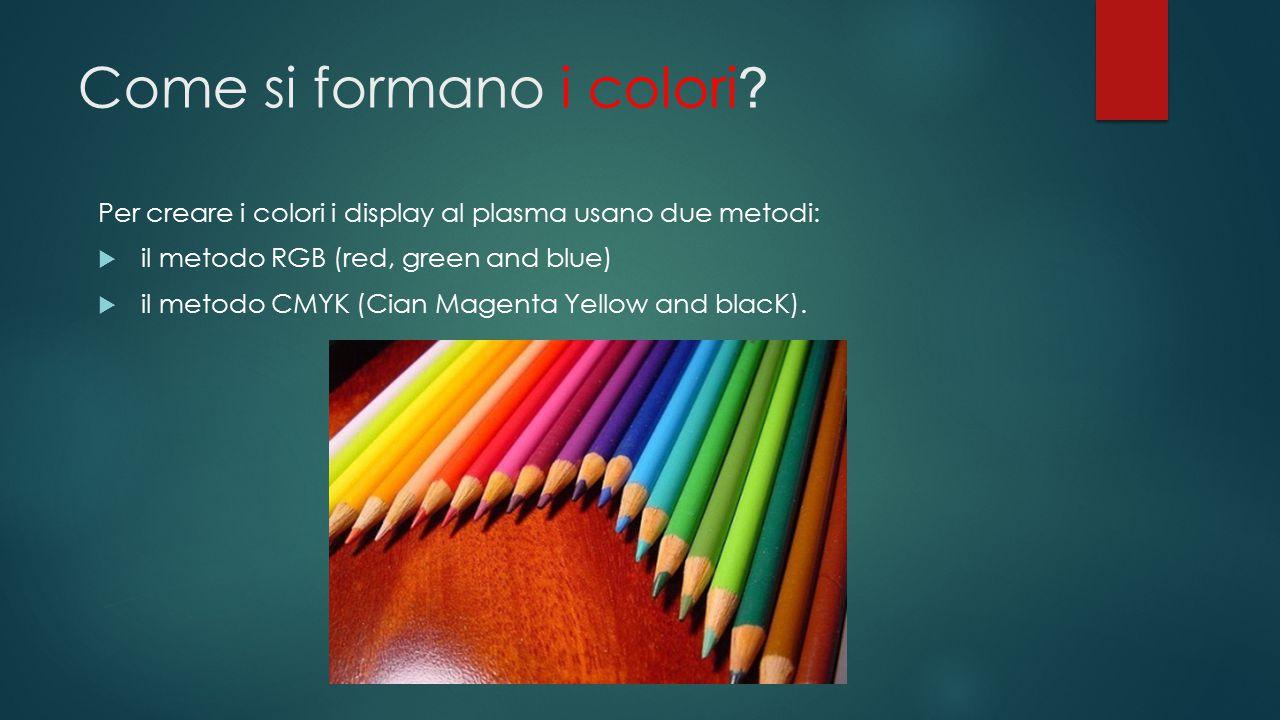 Come si formano i colori ? Per creare i colori i display al plasma usano due metodi:  il metodo RGB (red, green and blue)  il metodo CMYK (Cian Mage