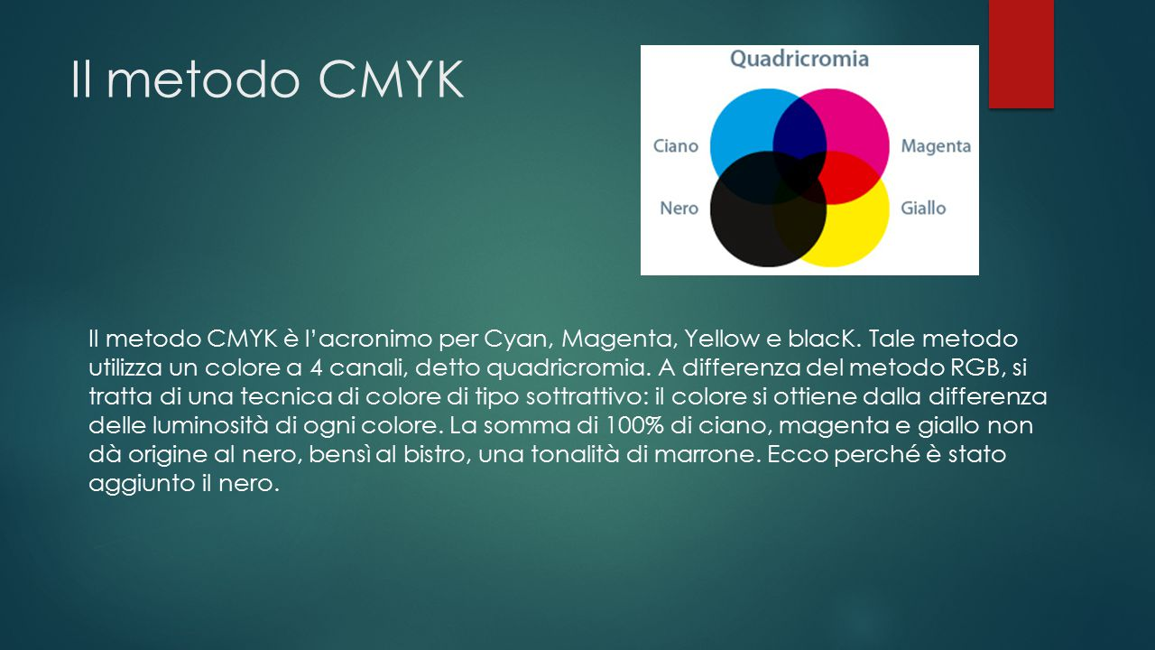 Il metodo CMYK Il metodo CMYK è l'acronimo per Cyan, Magenta, Yellow e blacK. Tale metodo utilizza un colore a 4 canali, detto quadricromia. A differe