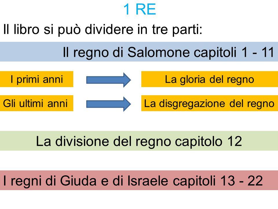 1 RE Il libro si può dividere in tre parti: Il regno di Salomone capitoli 1 - 11 La divisione del regno capitolo 12 I regni di Giuda e di Israele capi