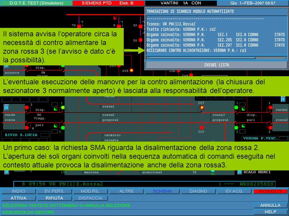 Continuando con il caso precedente, dopo che viene attivata la sequenza di disalimentazione, la lista della finestra popup riporta le manovre o verifiche man mano eseguite ed il relativo esito.