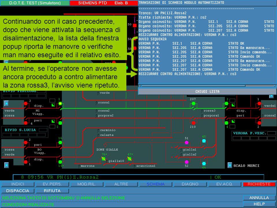 Il modulo è rilasciato e l'operatore ha eseguito la contro alimentazione suggerita dal sistema chiudendo il sezionatore normalmente aperto numero 3 di Verona P.N.