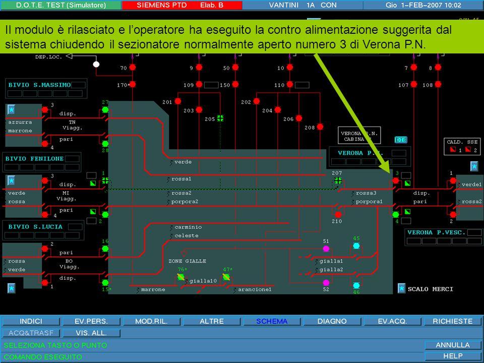 Proseguiamo con la restituzione del modulo: i sezionatori coinvolti sono: 205, 207 e 1.