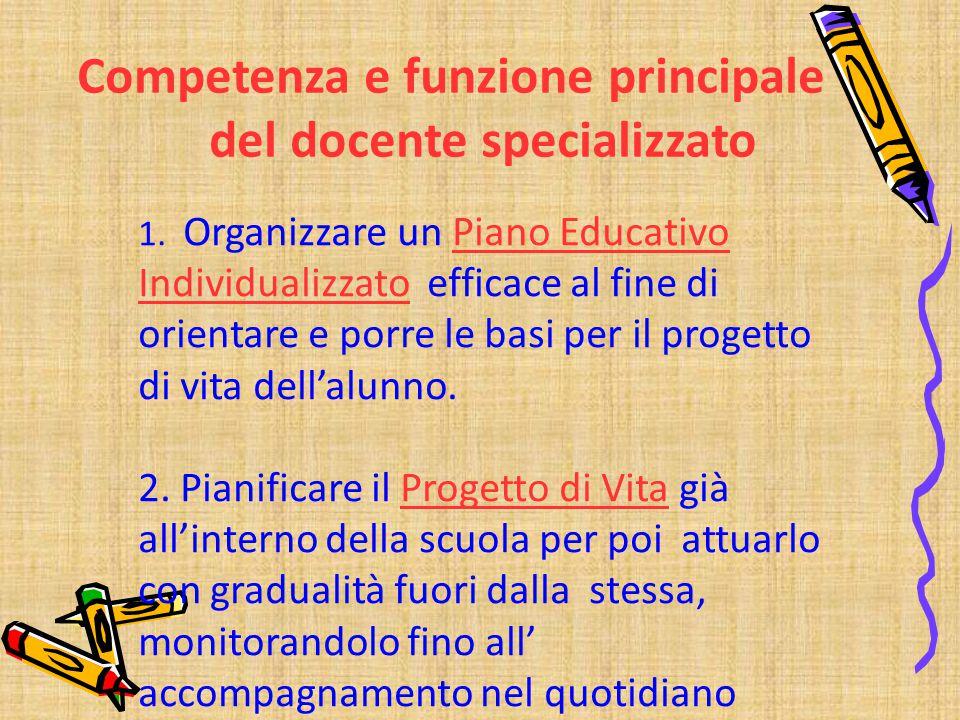1. Organizzare un Piano Educativo Individualizzato efficace al fine di orientare e porre le basi per il progetto di vita dell'alunno. 2. Pianificare i