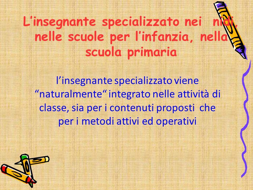 """l'insegnante specializzato viene """"naturalmente"""" integrato nelle attività di classe, sia per i contenuti proposti che per i metodi attivi ed operativi"""