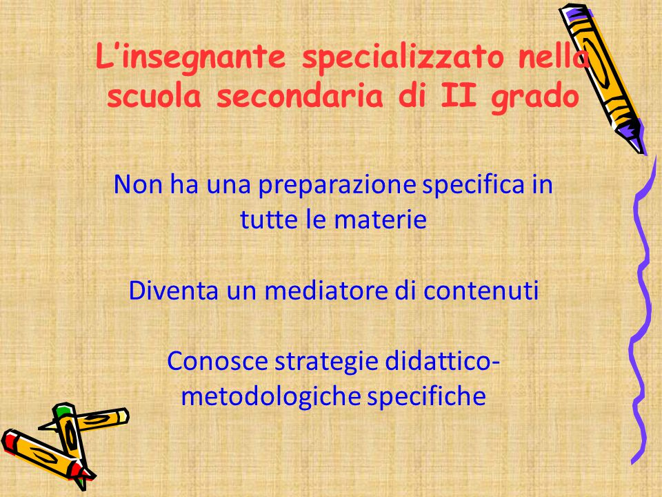 Non ha una preparazione specifica in tutte le materie Diventa un mediatore di contenuti Conosce strategie didattico- metodologiche specifiche L'insegn