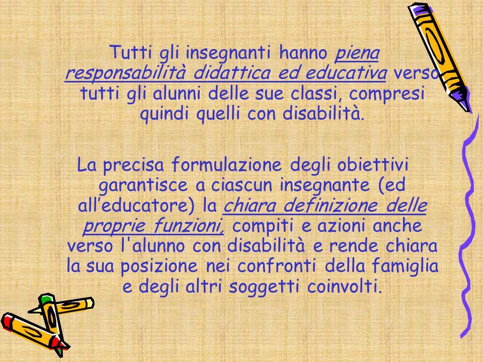 Tutti gli insegnanti hanno piena responsabilità didattica ed educativa verso tutti gli alunni delle sue classi, compresi quindi quelli con disabilità.