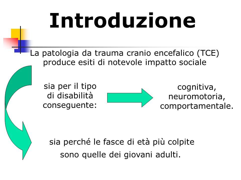 Introduzione sia per il tipo di disabilità conseguente: La patologia da trauma cranio encefalico (TCE) produce esiti di notevole impatto sociale cognitiva, neuromotoria, comportamentale.