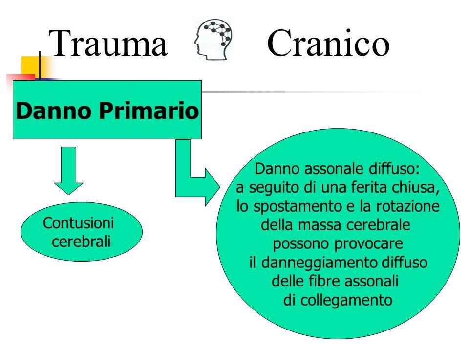 TraumaCranico Danno Primario tra il cranio ed il cervello ematoma epidurale o subdurale all interno del cervello stesso ematoma intracerebrale Frattura del cranio Ematomi cerebrali In alcune circostanze la tempestiva rimozione chirurgica dell ematoma può essere fondamentale per la sopravvivenza del paziente.