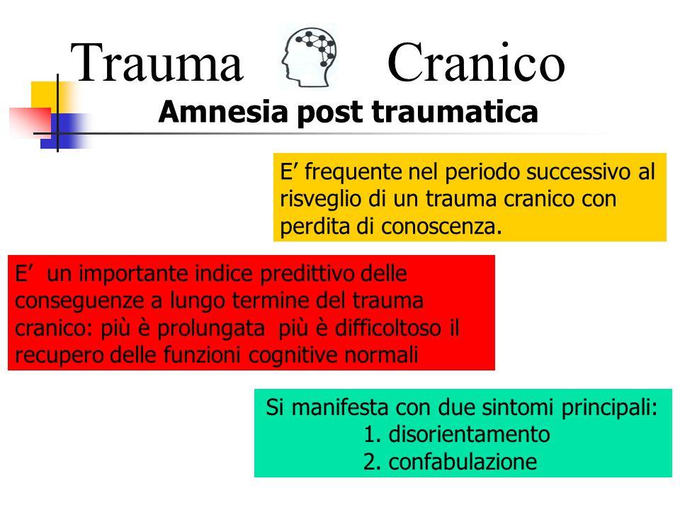 TraumaCranico Uno dei prerequisiti dell orientamento temporale consiste nella capacità di collocare nel corretto ordine temporale gli eventi.