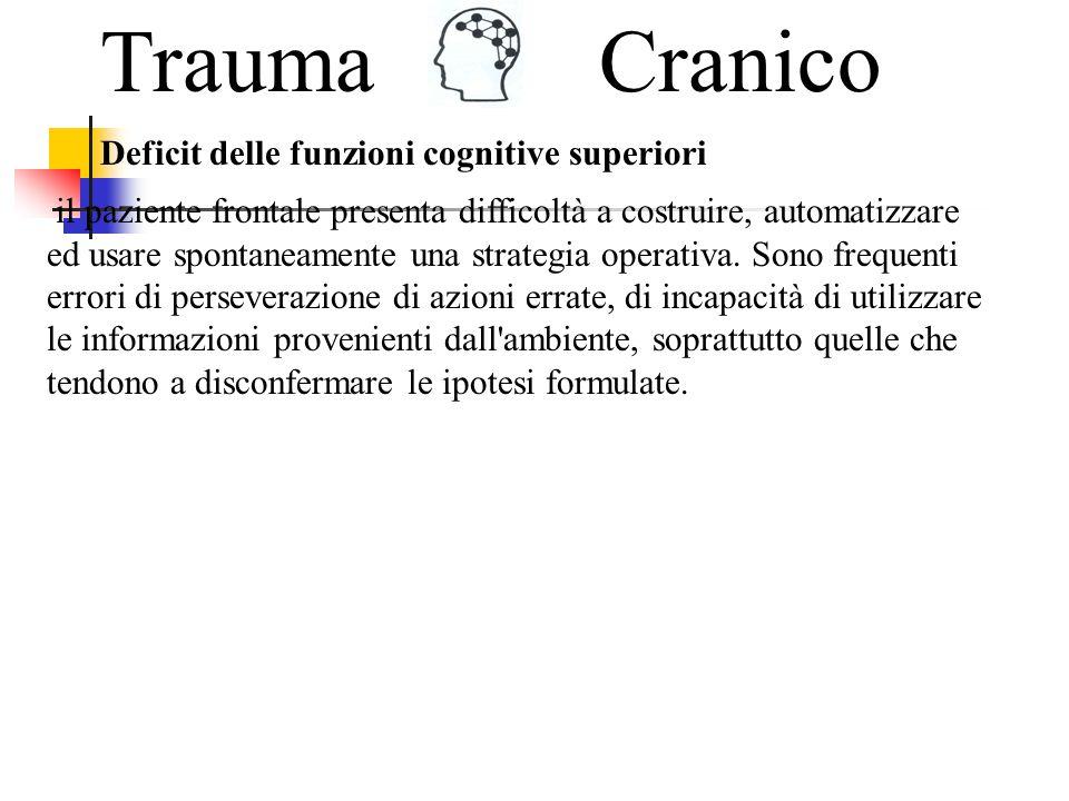 TraumaCranico Risulta piuttosto comune, in letteratura, considerare la sindrome frontale come conseguenza naturale di un trauma cranico.