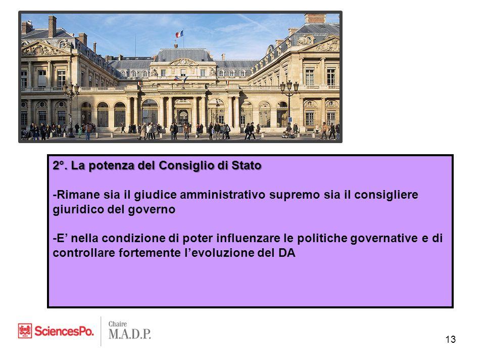 2°. La potenza del Consiglio di Stato -Rimane sia il giudice amministrativo supremo sia il consigliere giuridico del governo -E' nella condizione di p