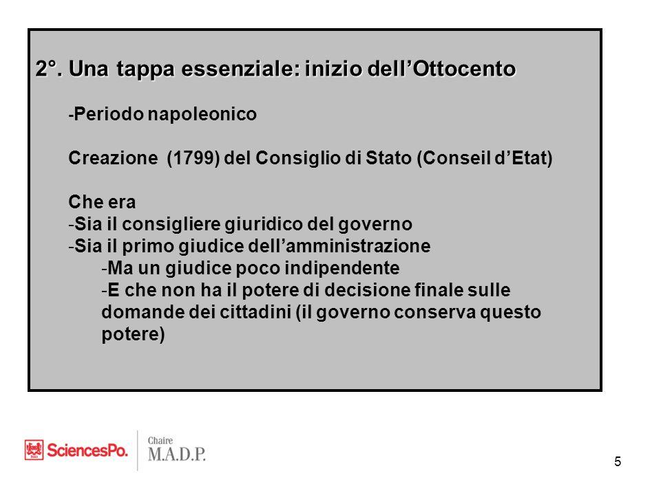 2°. Una tappa essenziale: inizio dell'Ottocento - Periodo napoleonico Creazione (1799) del Consiglio di Stato (Conseil d'Etat) Che era -Sia il consigl