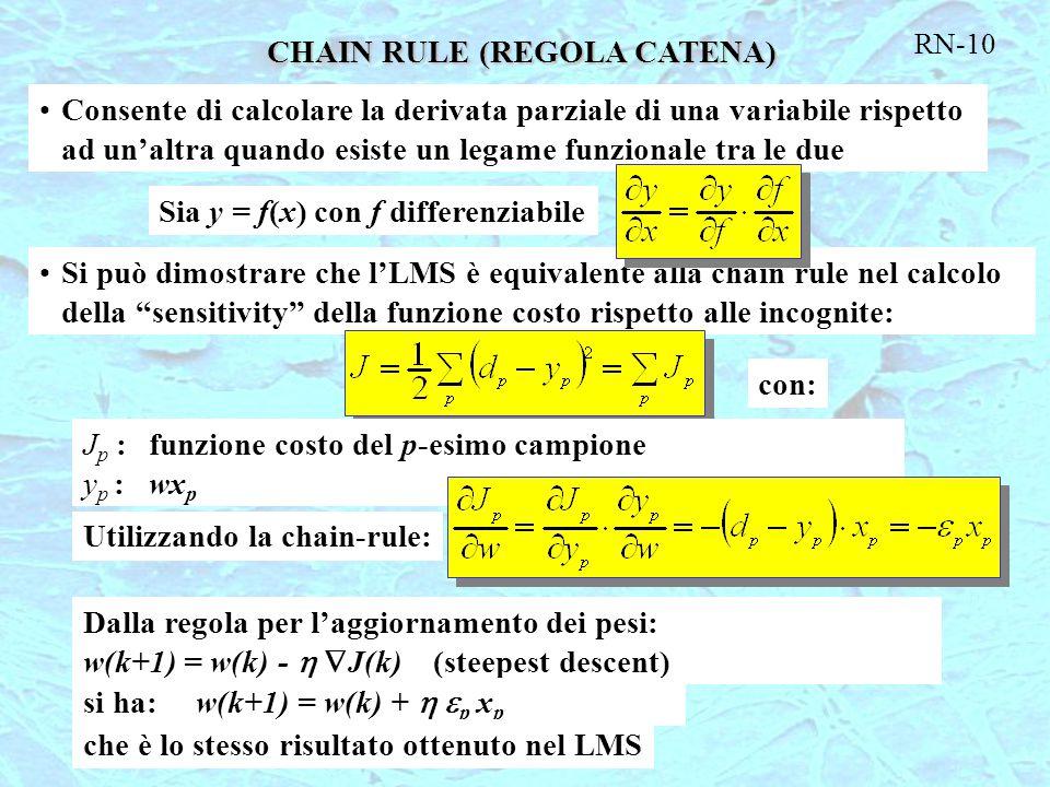 RN-10 CHAIN RULE (REGOLA CATENA) Consente di calcolare la derivata parziale di una variabile rispetto ad un'altra quando esiste un legame funzionale t