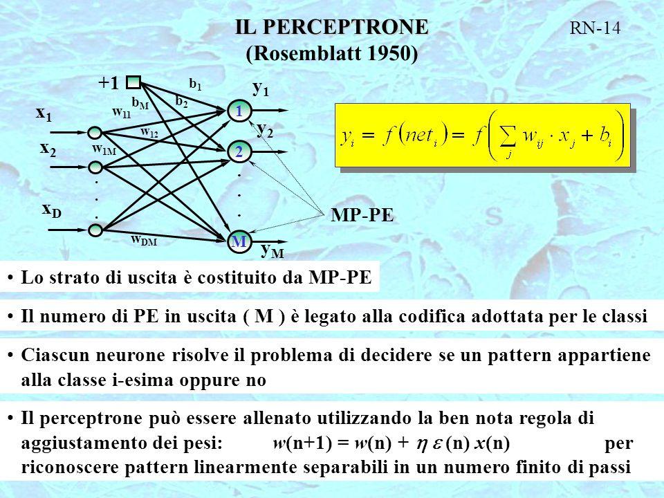 RN-14 IL PERCEPTRONE (Rosemblatt 1950) MP-PE 1 2 M............ +1 x1x1 x2x2 xDxD y1y1 y2y2 yMyM b1b1 b2b2 bMbM w 11 w 12 w 1M w DM Lo strato di uscita