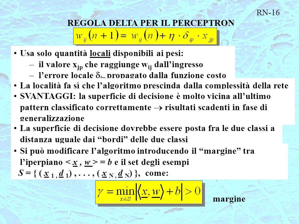RN-16 REGOLA DELTA PER IL PERCEPTRON Usa solo quantità locali disponibili ai pesi: –il valore x jp che raggiunge w ij dall'ingresso –l'errore locale 