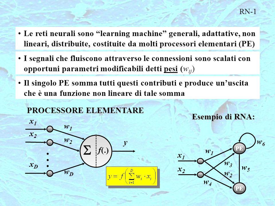 """RN-1 Le reti neurali sono """"learning machine"""" generali, adattative, non lineari, distribuite, costituite da molti processori elementari (PE) I segnali"""