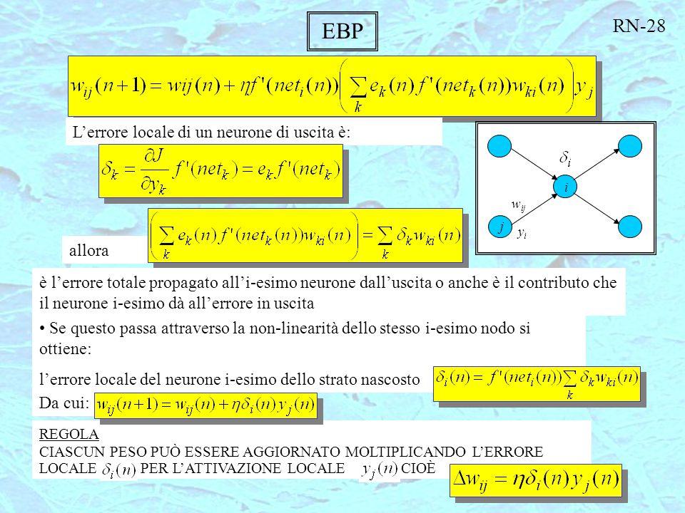 EBP L'errore locale di un neurone di uscita è: allora è l'errore totale propagato all'i-esimo neurone dall'uscita o anche è il contributo che il neuro