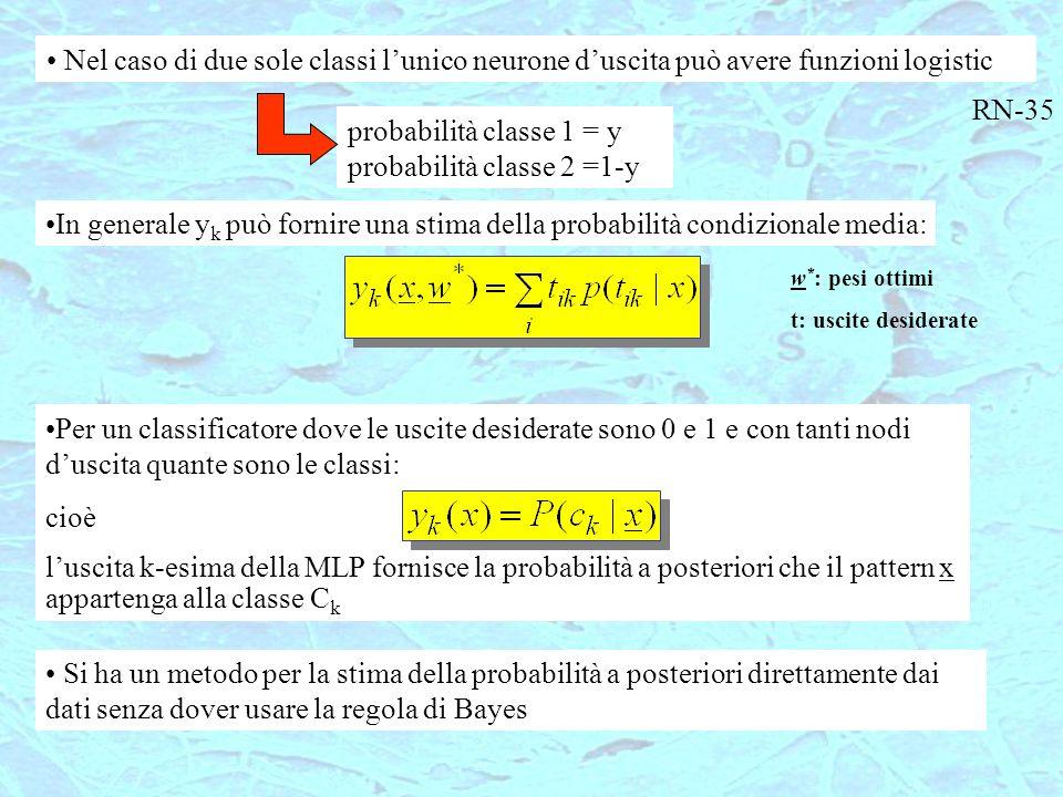 Per un classificatore dove le uscite desiderate sono 0 e 1 e con tanti nodi d'uscita quante sono le classi: cioè l'uscita k-esima della MLP fornisce l