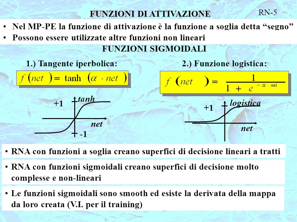 """FUNZIONI DI ATTIVAZIONE RN-5 Nel MP-PE la funzione di attivazione è la funzione a soglia detta """"segno"""" Possono essere utilizzate altre funzioni non li"""