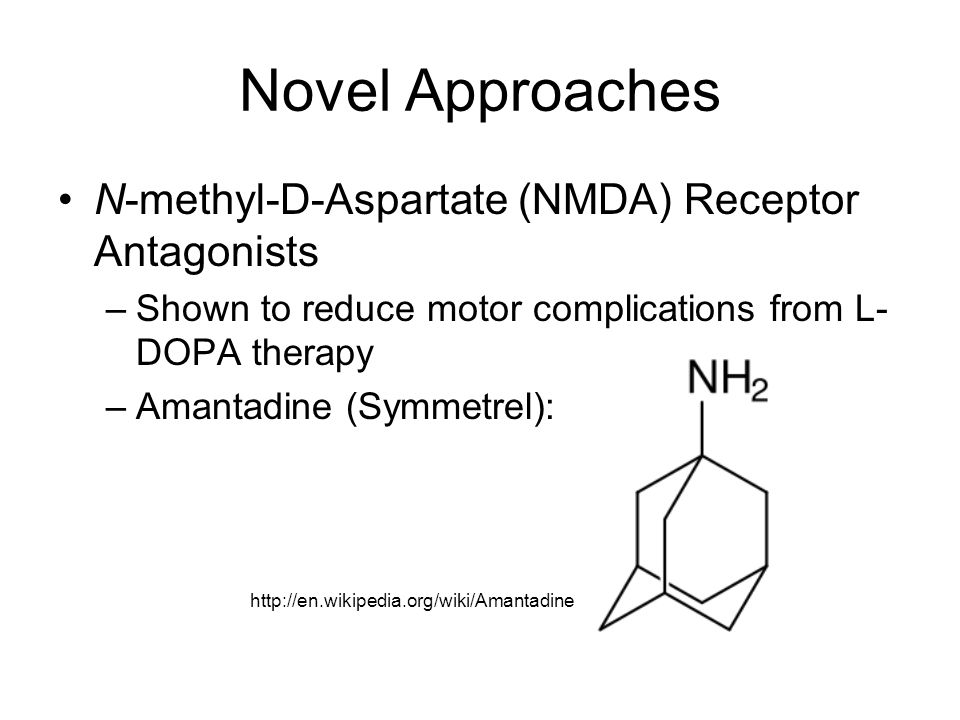 Novel Approaches N-methyl-D-Aspartate (NMDA) Receptor Antagonists –Shown to reduce motor complications from L- DOPA therapy –Amantadine (Symmetrel): http://en.wikipedia.org/wiki/Amantadine