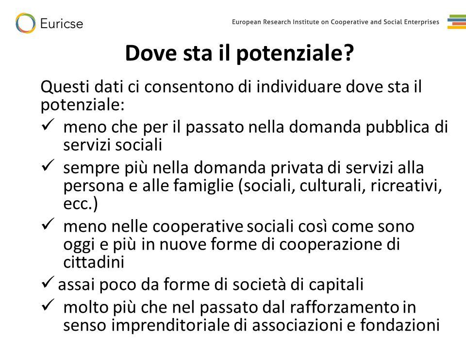 La sfida: creare un ecosistema Perché questo potenziale si traduca in processi concreti in tempi brevi occorre che si crei un ecosistema favorevole che si compone di una serie di elementi: -mantenimento (almeno) della domanda pubblica - nuove modalità di selezione e di definizione delle condizioni contrattuali da parte della PA (co- produzione, recepimento nuove direttive europee) -sostegno alla formazione di una domanda privata (voucher, defiscalizzazione) -intervento per la riduzione dei costi di produzione (contributi sociali oltre che iva) -una finanza dedicata (partecipazioni pazienti al capitale di rischio) -una miglior strutturazione delle unità di offerta