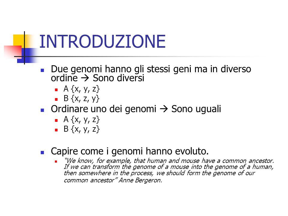 INTRODUZIONE Due genomi hanno gli stessi geni ma in diverso ordine  Sono diversi A {x, y, z} B {x, z, y} Ordinare uno dei genomi  Sono uguali A {x, y, z} B {x, y, z} Capire come i genomi hanno evoluto.