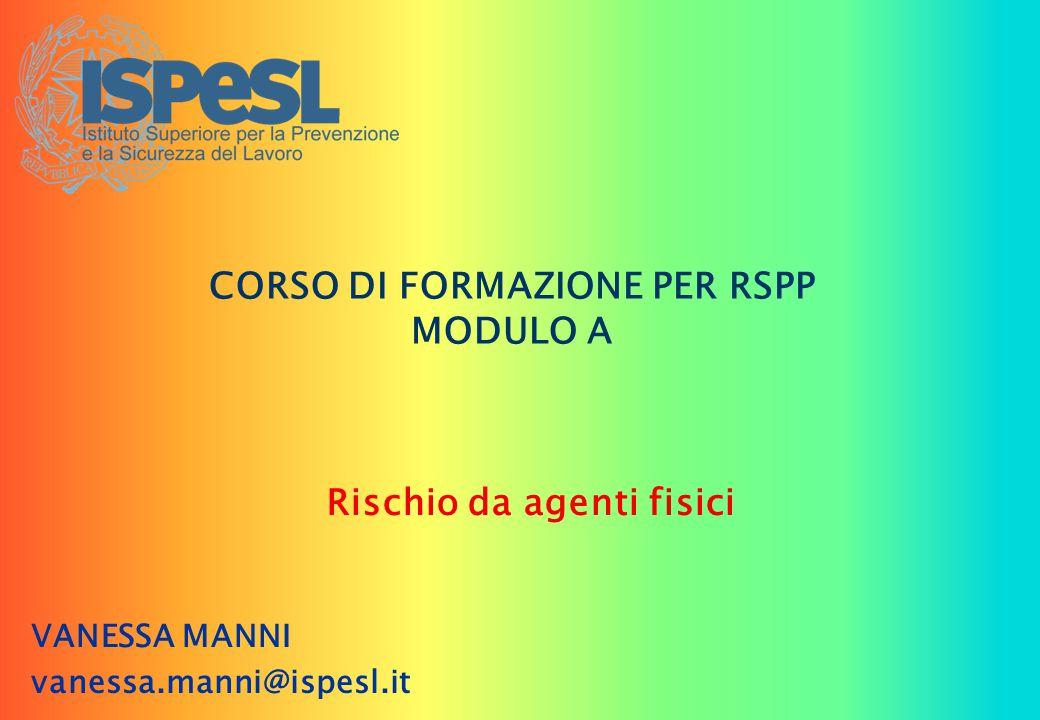 CORSO DI FORMAZIONE PER RSPP MODULO A Rischio da agenti fisici VANESSA MANNI vanessa.manni@ispesl.it