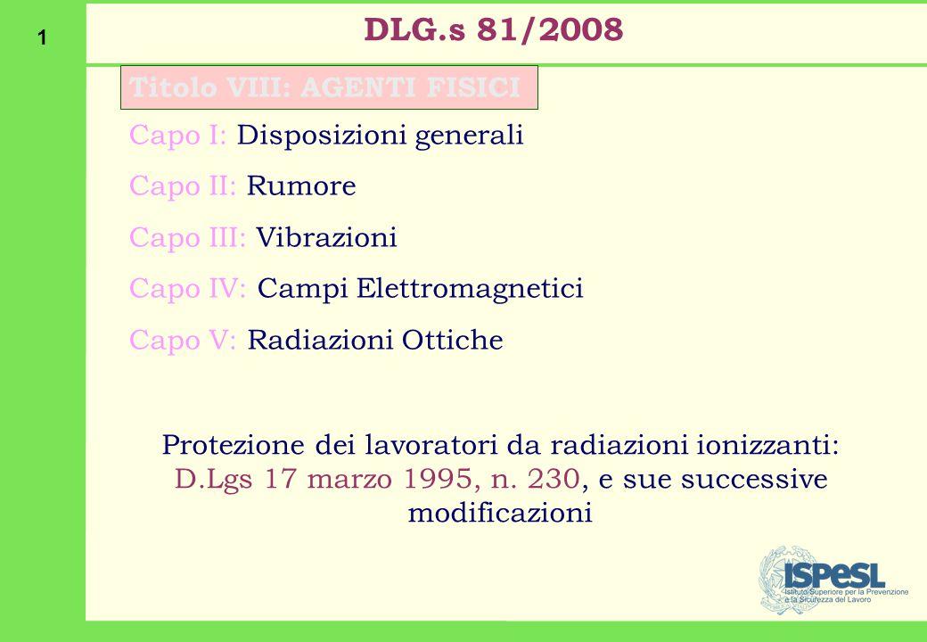 1 DLG.s 81/2008 Titolo VIII: AGENTI FISICI Capo I: Disposizioni generali Capo II: Rumore Capo III: Vibrazioni Capo IV: Campi Elettromagnetici Capo V: Radiazioni Ottiche Protezione dei lavoratori da radiazioni ionizzanti: D.Lgs 17 marzo 1995, n.