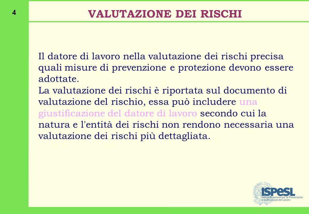 4 Il datore di lavoro nella valutazione dei rischi precisa quali misure di prevenzione e protezione devono essere adottate.
