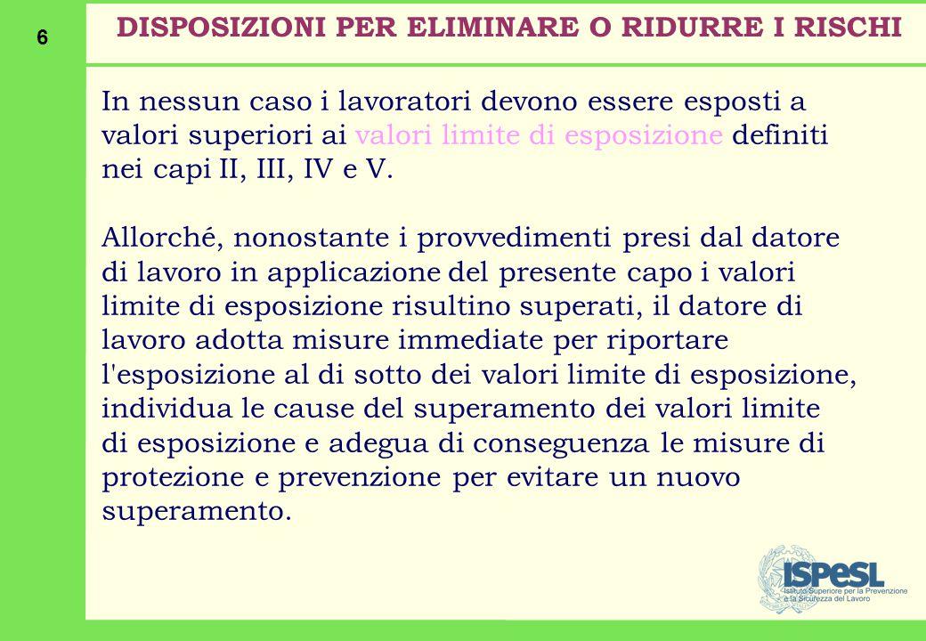 6 In nessun caso i lavoratori devono essere esposti a valori superiori ai valori limite di esposizione definiti nei capi II, III, IV e V.