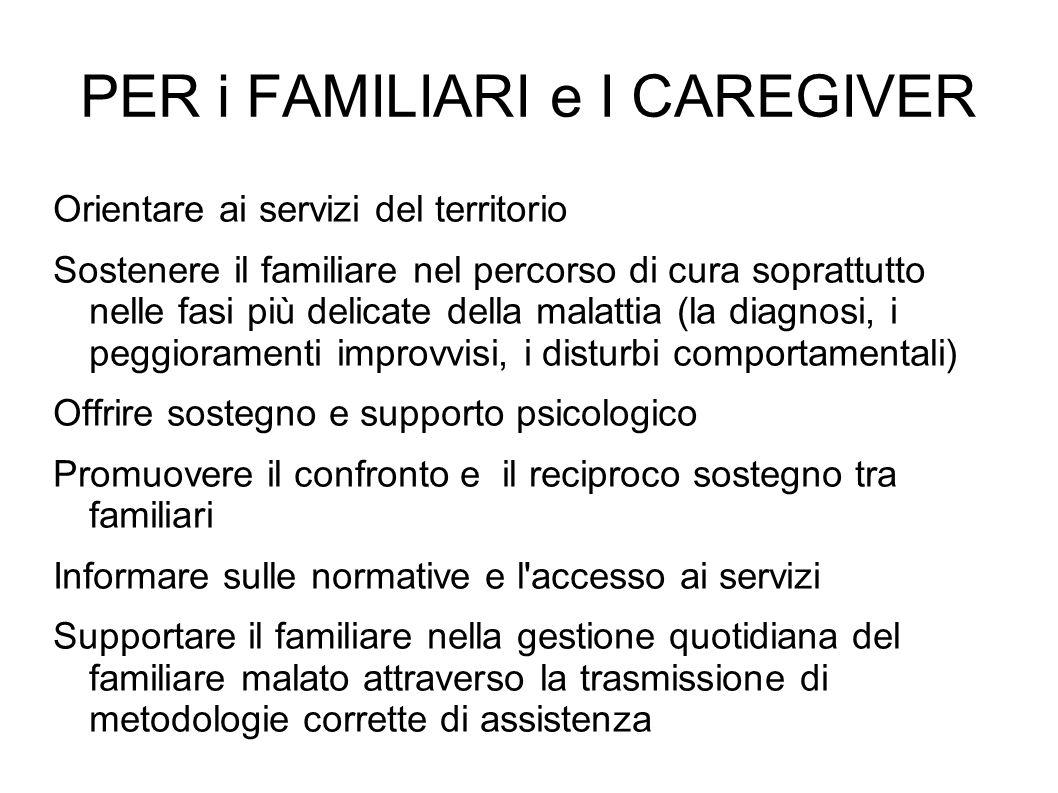 PER i FAMILIARI e I CAREGIVER Orientare ai servizi del territorio Sostenere il familiare nel percorso di cura soprattutto nelle fasi più delicate dell