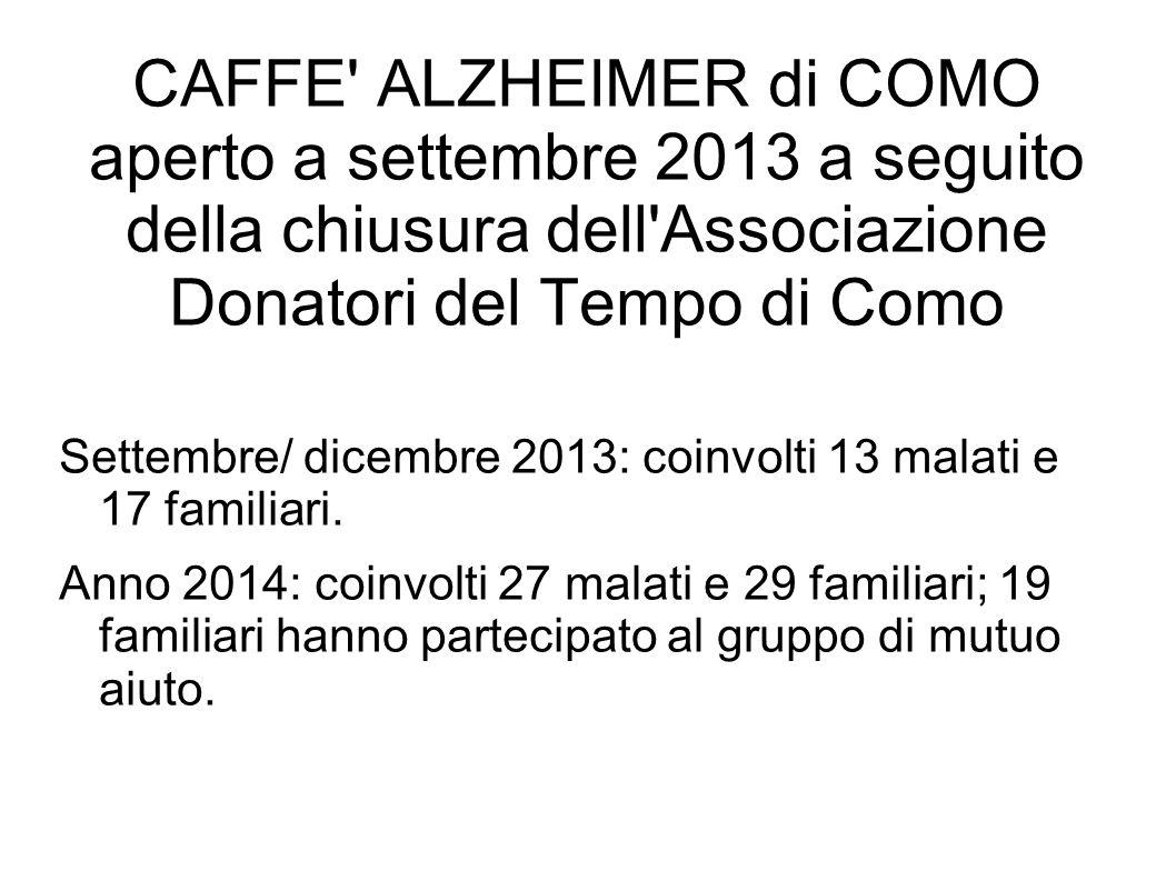CAFFE' ALZHEIMER di COMO aperto a settembre 2013 a seguito della chiusura dell'Associazione Donatori del Tempo di Como Settembre/ dicembre 2013: coinv