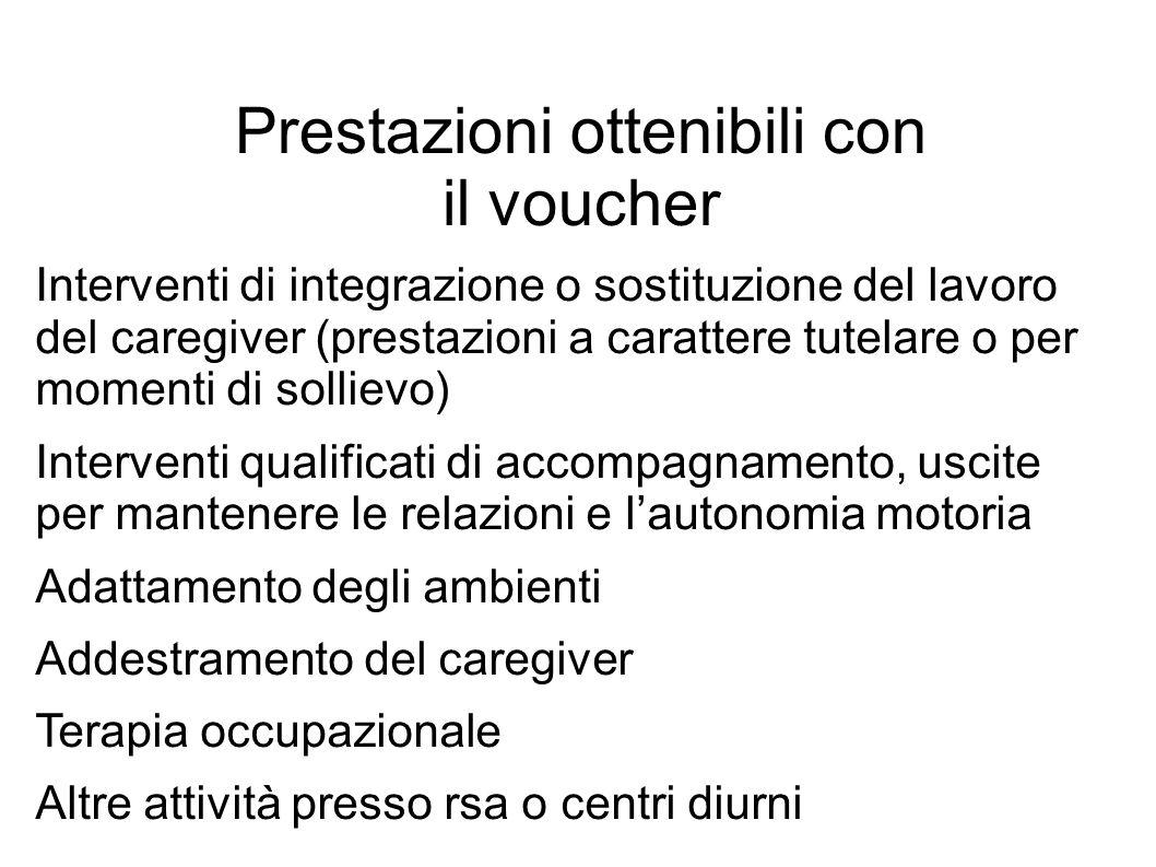 Prestazioni ottenibili con il voucher Interventi di integrazione o sostituzione del lavoro del caregiver (prestazioni a carattere tutelare o per momen